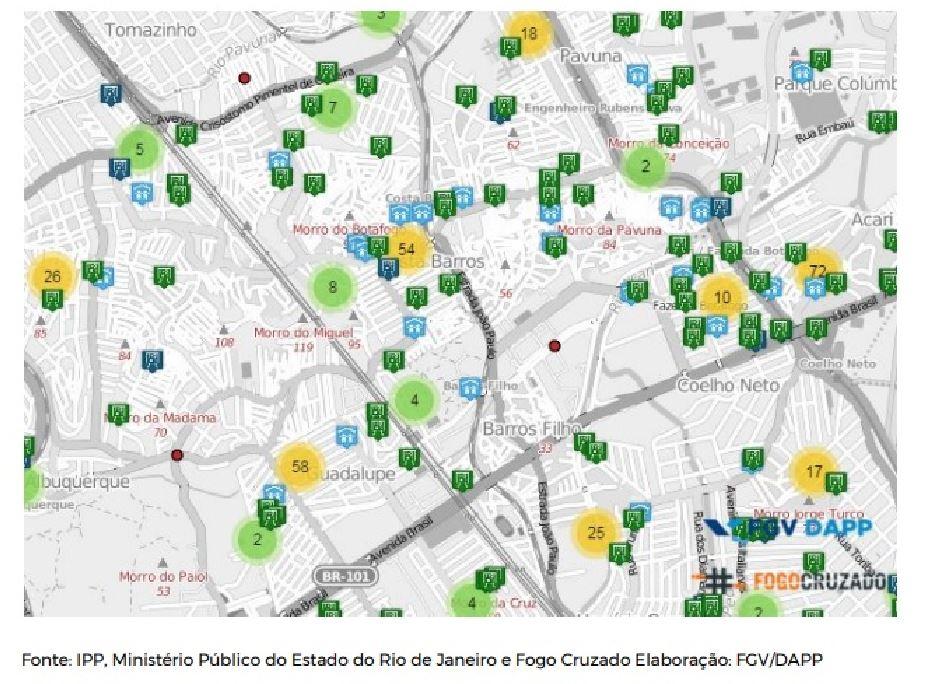 mapa das escolas públicas e creches e número de disparos em Acari e Costa Barros.jpg